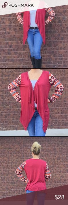 """loose Cardigan Aztec long sleeve loose cardigan. Irregular front. 20"""" bust. 23.5"""" length on back side. BUNDLE AND SAVE 10%. Wearing the large Boutique Jackets & Coats Capes"""