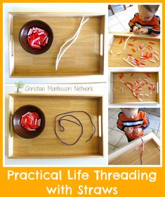 Practical Life Threading with Straws - www.christianmontessorinetwork.com