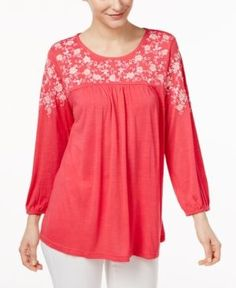 Ny Collection Embroidered Blouse - Pink XS