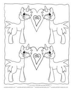 Unicorn Coloring Pages for Kids FREE to print at www.wonderweirded-creatures.com/unicorn-coloring-pages-for-kids.html, from Echo's Fantasy Coloring PAges Collection, FREE unicorn printables