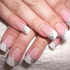 French tips with white line and silver glitter