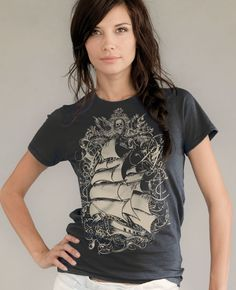 shirts i'd wear: Sailing T-shirt Old World Pirate Ship Unisex Organic Unisex $24
