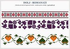 Semne Cusute: motive traditionale romanesti OLTENIA, Dolj-Romana... Hama Beads, Beading Patterns, Pixel Art, Cross Stitch, Embroidery, Model, Moldova, Romania, Group
