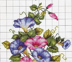 Color Chart for DMC included ~ more patterns on the site Cute Cross Stitch, Cross Stitch Flowers, Cross Stitch Kits, Cross Stitch Charts, Cross Stitch Designs, Cross Stitch Patterns, Lace Embroidery, Cross Stitch Embroidery, Embroidery Patterns
