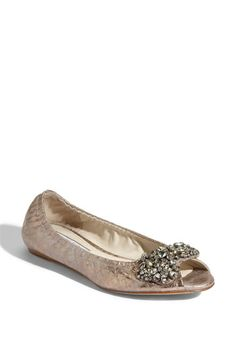 Vera Wang Lavender 'Luna' Snake Embossed Metallic Leather Flat