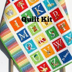 ABC Dr Seuss Quilt Kit, Stripes Panel, Dr Seuss Blanket, Baby Project