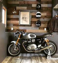 """""""Finished off a new office in my garage and this is my view now,"""" says Reposted from Motorcycle Workshop, Cafe Racer Motorcycle, Motorcycle Garage, Motorcycle Design, Bajaj Motos, Triumph Bikes, Motorcycles, Thruxton Triumph, Best Motorbike"""