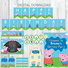 Peppa Pig, Pig Birthday, Birthday Parties, George Pig, Pig Party, Cardboard Paper, Kit, Party Packs, Diy And Crafts