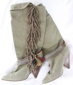 """~~~ SO SOUGHT-OUT ~~~ ISABEL MARANT OLIVE CANVAS """"DANA"""" FRINGE/CHAIN BOOTS ~ 41"""