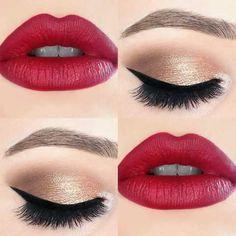 Labios rojos con un toque dorado en ojos