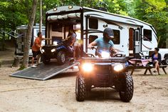 Whatever your family prefers to ride, there's a good chance you can take it with you in a toy hauler RV. Here are our picks for must-see toy haulers! Toy Hauler Trailers, Toy Hauler Camper, Camper Trailers, Travel Trailers, Horse Trailers, Camper Van, Luxury Rv, Vacation Mood, Buying An Rv