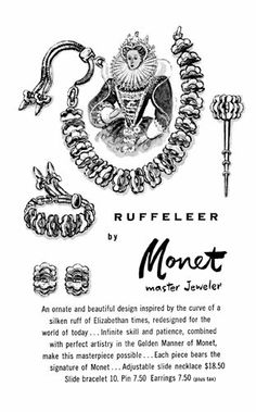 Original Monet advertisement for The Ruffeleer Collection (Fall 1953.)