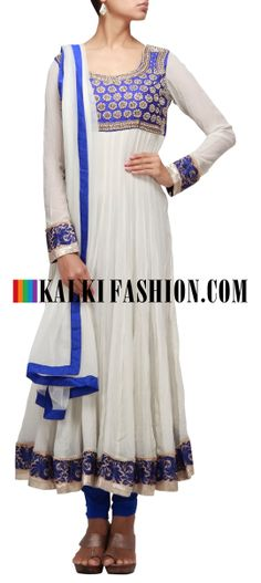 Buy Online from the link below. We ship worldwide (Free Shipping over US$100) http://www.kalkifashion.com/cream-anarkali-suit-embellished-in-embroidered-yoke.html Cream anarkali suit embellished in embroidered yoke