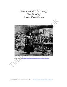 Annotate the Drawing- The Trial of Anne Hutchinson from Resourceful Social Studies Teacher on TeachersNotebook.com -  (4 pages)  - Students will have the opportunity to demonstrate their understanding of the trial of Anne Hutchinson in a creative and fun way.