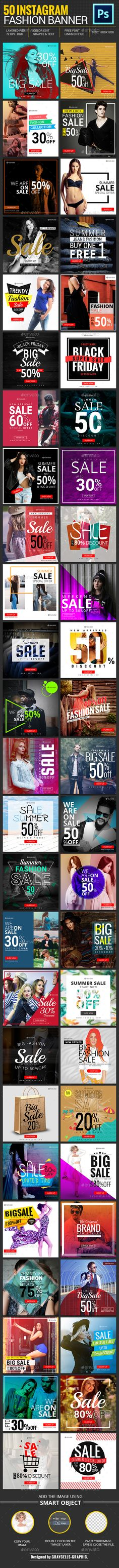 50 Instagram Promotional #Banners - #Social Media #Web Elements Download here: https://graphicriver.net/item/50-instagram-promotional-banners/19607834?ref=alena994