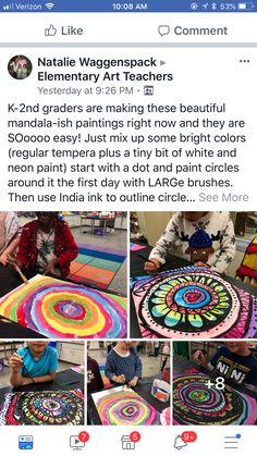 Gonna borrow them for inspiration Art Club Projects, Classroom Art Projects, Art Classroom, Kids Printmaking, Neon Painting, 6th Grade Art, Art Curriculum, Collaborative Art, Art Lessons Elementary