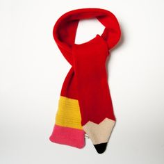 Lambswool Red Pencil Scarf I have designed and knitted this scarf using lambswool, so it is lovely and soft. The pencil is a bright red colour. A fun scarf to keep you cosy! Please note: This scarf is knitted to order so please do allow 14 days f. Loom Knitting, Knitting Patterns, Crochet Patterns, Crochet Scarves, Knit Crochet, Red Pencil, Red Gloves, Cooling Scarf, Crochet Projects