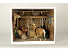 American Girl Horse Stable Diorama 11 H, 14 W, 11 D. Toy Horse Stable, Schleich Horses Stable, Horse Stables, Wooden Toy Barn, American Girl Doll Horse, Poupées Our Generation, Horse Pens, Ag Doll House, Bryer Horses
