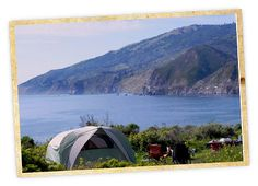 Big Sur - spend $25 and wake up to the sound of crashing waves plus incredible views of Big Sur's coastline when staying at Kirk Creek Campground. Located toward the southern end of Big Sur, an hour north of Hearst Castle, this Los Padres National Forest campground looks out on a gently curving bay from a gorgeous bluff about 100 feet above the water. You can't really go wrong with any of the 33 ocean-view campsites, but #22 and #23 feel especially secluded. Weekend Sherpa