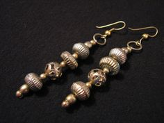 Vintage Gold Tone Filigree Beaded Dangle Pierced by ditbge on Etsy, $6.75