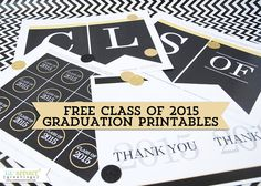 Free Class of 2015 Graduation Printables: Banner & Cupcake Toppers from Lil' Sprout Greetings