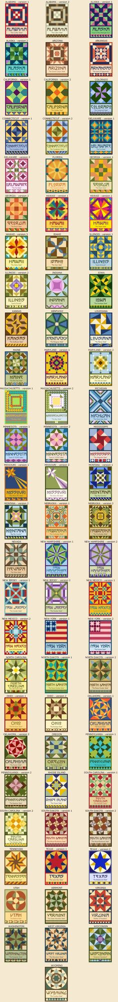 50 State Quilt Block Series by Susan Davis, owner of Olde American Antiques and American Quilt Blocks - House Interior Design Barn Quilt Designs, Barn Quilt Patterns, Pattern Blocks, Quilting Designs, Quilting Patterns, Sewing Patterns, Sampler Quilts, Star Quilts, Quilt Blocks