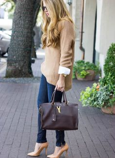 Layered Knits | The Teacher Diva. I like the jeans and shoes of this outfit