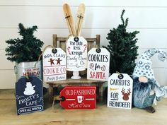Excited to share this item from my shop: Kitchen Signs // Wood Tags // Christmas Wood Tags // Tiered Tray signs // Tiered Tray decor // Christmas signs // mini christmas signs Pallet Christmas Tree, Christmas Wood Crafts, Farmhouse Christmas Decor, Christmas Minis, Christmas Projects, Christmas Decorations, Christmas Ornaments, Christmas Ideas, Christmas Kitchen