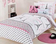 Modern Bedroom with Feminine Paris Themed Comforter Set  Pink Round Rug   and Small WhiteParis bed set   Paris bedroom   Pinterest   Bed sets  Bedrooms and  . Paris Bedroom Set. Home Design Ideas