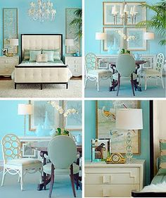 Items from Grace Home Furnishings Via House of Turquoise House Of Turquoise, Bedroom Turquoise, Light Turquoise, Light Blue, Aqua Blue, Turquoise Walls, Color Blue, Blue Green, Tiffany Blue Bedroom