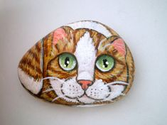 Yellow Ginger  Cat  Painted Pet Rock,  for pet lovers cat lovers, stone art, paper weight, collectibles via Etsy
