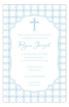 Religion can be an important part of becoming a well-rounded and fulfilled human being. A boy with a strong family and religious background will go far in life and find happiness. These Baptism Invitations for boys would make a perfect invitation. Baptism Invitation For Boys, Baptism Invitations, Invites, Beyond Blessed, Strong Family, Boy Baptism, Blue Cross, Tile Patterns, Rsvp