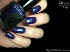 Fashion Polish: Cirque Objet dArt Collection Review | Lapis | A sapphire blue micro-glitter with subtle shimmer