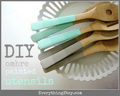 DIY Ombre Painted Utensils Tutorial - EverythingEtsy.com