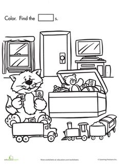 Preschool Math Worksheets: Shape Search: Kitty's Toy Chest
