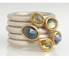 Rings in silver and 22ct gold set with rose cut Australian sapphires