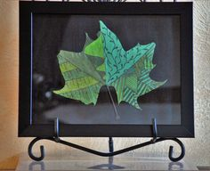 It's Not Easy Being Green framed painted leaf by FoxyLadyCreations