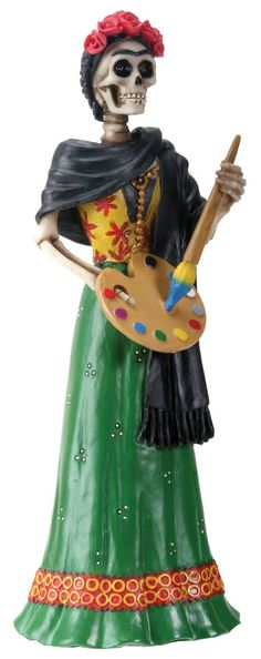 Frida Kahlo Holding Painter Palette Skeleton Day of The Dead Statue