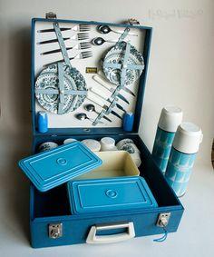 Vintage Retro 1950s/60s Blue BREXTON Picnic Set by UpStagedVintage