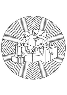 Mandala Christmas Stack Of Presents Coloring Pages