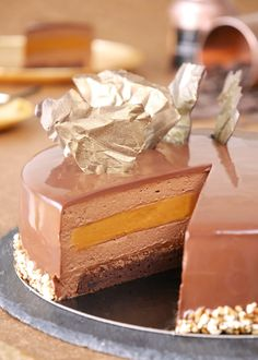 Gourmet Desserts, Fancy Desserts, Sweets Recipes, Cake Recipes, Chocolate Pastry, Chocolate Mousse Cake, Chocolate Desserts, Entremet Recipe, Vegetarian Sweets
