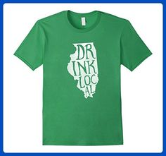 Mens Drink Local Illinois State Outline Craft Beer T-Shirt Medium Grass - Food and drink shirts (*Amazon Partner-Link)
