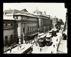 Trams outside Cape Town Railway Station, Adderley Street. Photographer unknown - Undated but circa Then And Now Pictures, Old Pictures, African History, Cape Town, Historical Photos, South Africa, Im Not Perfect, Street View, Explore