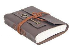 Dark Brown Leather Journal - Blank Paper - Hand Bound Journal  - Heart Key Bookmark - Rustic Journal - Travel Journal - Diary -