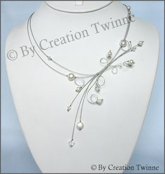 clear swarovski crystal white pearls beads by creationtwinne-beautiful...very light...love this