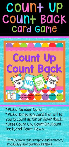 Learn how to count up and count back from a given number.  Your students will love this bright and colorful card game and strengthen their number sense while playing.  Instant math center.  Great little game to assess number sense as well.