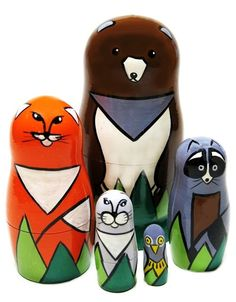 Asian animals are painted on a 5 piece nesting doll. Set of panda bear, tiger, snow leopard, orangutan and lemur dolls. Educational Toy for Kids at Best Value. Unique Gifts For Kids, Wooden Animals, Educational Toys For Kids, Wooden Dolls, Forest Animals, Panda Bear, Doll Toys, Colored Pencils, Hand Painted
