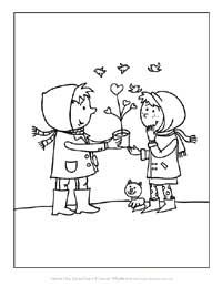 Giving Valentines Day Coloring Page