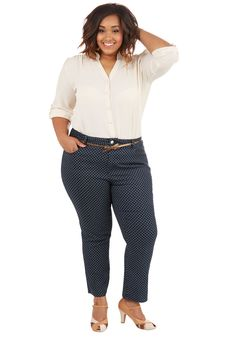 Dotted Delight Jeans in Plus Size. Give your everyday ensembles a chic update with these dotted jeans! #blue #modcloth