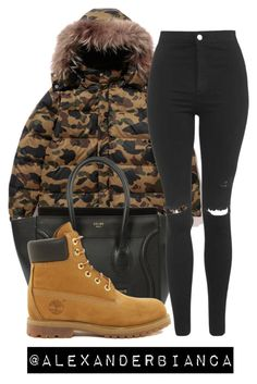 """""""BAPE X TIMBERLAND"""" by alexanderbianca ❤ liked on Polyvore featuring CÉLINE, Timberland and Topshop"""